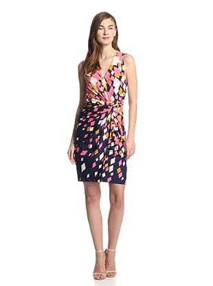 JB by Julie Brown Women's Lucia Sleeveless Knot Front Dress (Navy Burst)