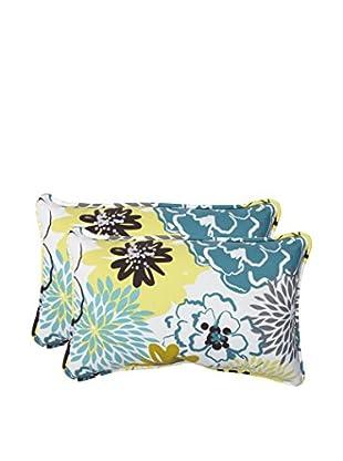 Pillow Perfect Set of 2 Indoor/Outdoor Floral Fantasy Limeade Lumbar Pillows, Green