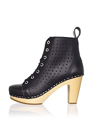Swedish Hasbeens Women's Perforated Lace-Up Ankle Boot (Black/nature)