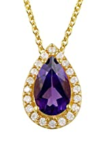 Exxotic Designer Silver 24k Gold Plated Pear Birth Stone Pendant For Girls & Women