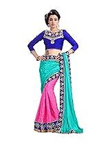 Saree Studio Turquoise Pink Wedding Wear Embroidery Work Indian Chiffon Sari