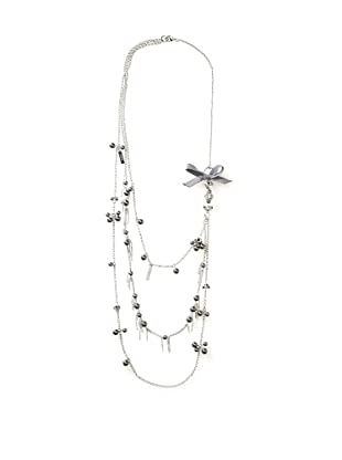 LK Designs Long Pearls and Charms Necklace, Silver