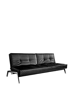Abbyson Living Viviana Convertible Euro Sofa Lounger, Jet Black