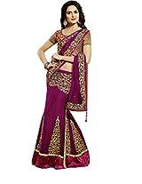 Purple Zari Sequins Work Wedding Wear Net Satin Lehenga Saree Sari