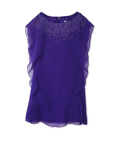 Blush by US Angels Girl's Cascade Sleeve Dress (Purple)
