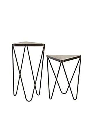 Artistic Lighting Set Of 2 Angular Side Tables, Antique Silver/Bronze