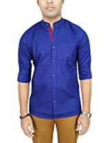 AA' Southbay Men's Royal Blue 100% Cotton Oxford Mandarin Collar Long Sleeve Party Casual Shirt