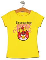 Angry Birds Yellow Cotton Half T-shirt (for 11-12 Years Girls)