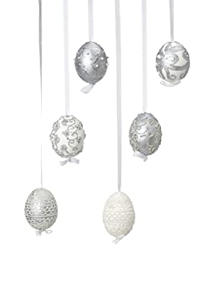 Peter Priess Set of 6 Assorted Shimmer Easter Eggs, Silver/Cream