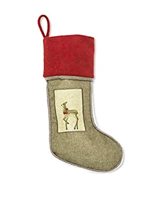 Winward Burlap Reindeer Stocking, Red/Natural