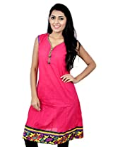 Kala Sanskruti Women's Cotton Silk Pink Kurti