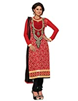 Pakistani party wear dresses with red embroidered yoke