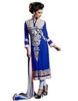 Vibes Womens Georgette Patch Work Straight Unstitched Dress Material (V180-11003 _Blue)