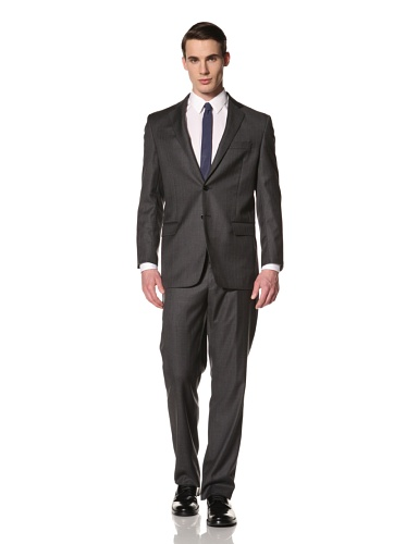 Yves Saint Laurent Suits in Loro Piana Wool Men's Stripe Textured Classic Suit (Charcoal Blue)