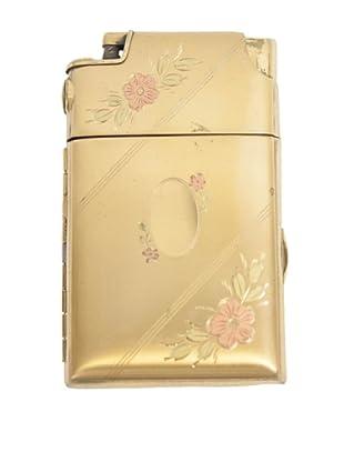 Brass Lighter with Floral Enamel Design