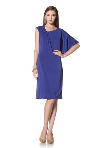 Anne Klein Collection Women's Pleat Neck Dress (Blue)
