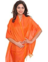 Exotic India Banarasi Scarf with Tanchoi weave - Color Ember GlowColor Free Size