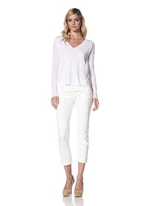 Central Park West Women's Sardinia Linen V-Neck Knit Top (White)
