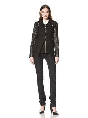 Sam Edelman Women's Wool Jacket with Leather Sleeves (Black)