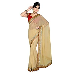 Budget vastra Beige color chiffon designer saree with designer blouse piece