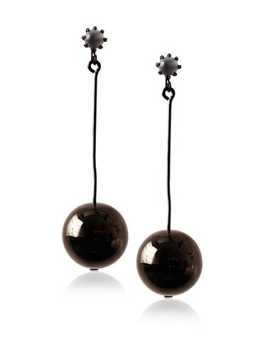 Tuleste Market Pendulum Earrings, Gunmetal/White Cat Eye