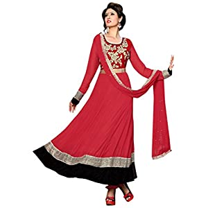 s11007_New Arrival Red Heavy Embroidered Anarkali Suit