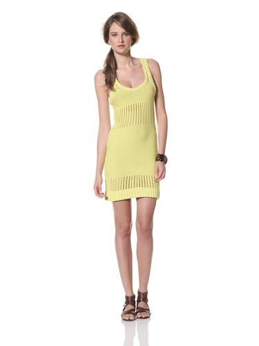 Whit Women's Cotton Knit Crochet Sweater Dress (Yellow)