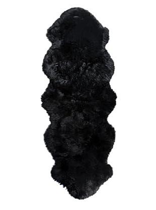 Natural Brand New Zealand Sheepskin Double Rug, Black, 2' x 6' Runner