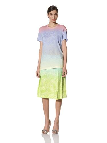 Jonathan Saunders Women's Short Sleeve Paisley Print Tee (Blue/Lemon/Pink)