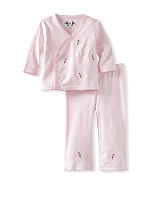 Margery Ellen Baby Pima Cotton Wrap Set with Embroidery (Ice-Cream)