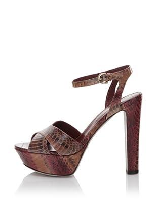 Sergio Rossi Women's Platform Snake Sandal (Cuoio)