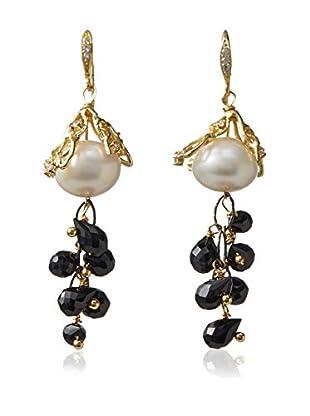 Indulgems White Pearl & Black Spinel Briolette Earrings