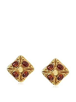 CHANEL Amber Stone Clip Earrings