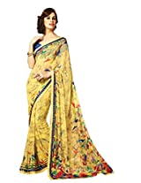 Colors Fashion Yellow Faux Georgette Latest Printed Saree with Lace Border work