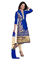 Khushali Presents Embroidered Glaze Cotton Dress Material(Blue,Chikoo)