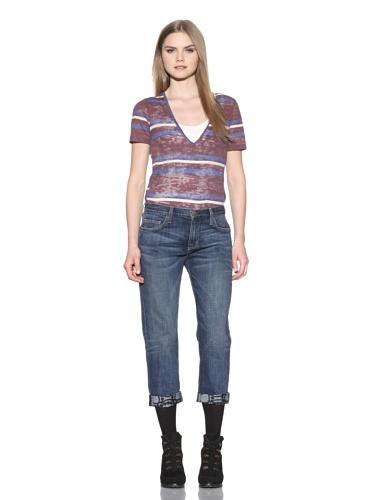 Marni X Current/Elliot Women's The Boyfriend Jean with Printed Cuff (Loved/Pearl Cuff)