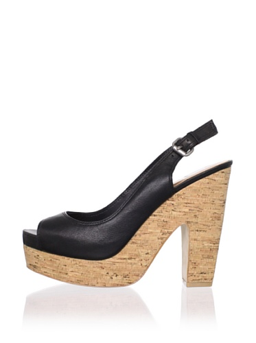 Dolce Vita Women's Maude Platform Sandal (Black Leather)