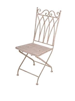 Esschert Design USA Aged Metal Folding Square-Back Bistro Chair