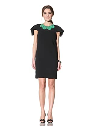 Behnaz Sarafpour Women's Short Sleeve Dress with Embellished Neckline (Black/Green)