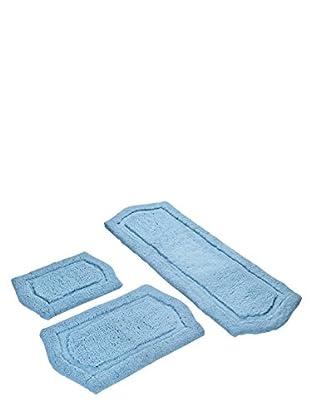 Paradise 3-Piece Memory Foam Bath Rug Set, Spa Blue