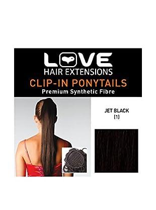 Love Hair Extensions Kunsthaar-Pferdeschwanz Silky Sue mit Kordel, 51cm, 1 Jet Black