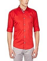 GHPC Men's 100% Cotton Casual Shirt(CS622518_42_Crimson Red)