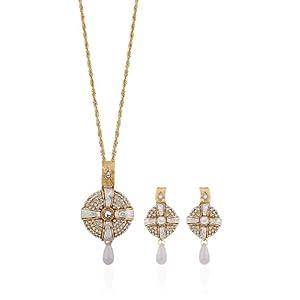 White Diamond Golden Pendant Set