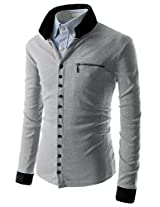 TheLees (GD62) Mens Casual Slim Fit 2 Tone Button Cardigan Gray Chest 44(Tag size 2XL)