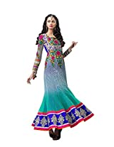 Anvi Creations Turquoise Blue Net Anarkali Dress Material (Turquoise Blue_Free Size)