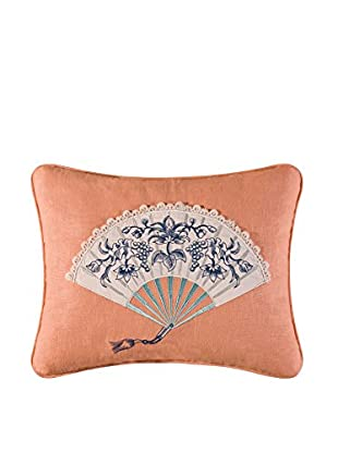 Hampstead Toile Embroidered Fan Pillow, Coral Multi