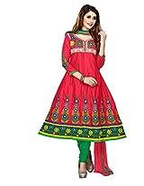 Khushali Women'S Cotton Unstitched Anarkali Salwar Suit Dress Material (Gajri)