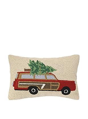 Peking Handicraft Family Wagon Lumbar Pillow, Red/Green/Beige