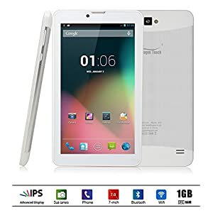 Dragon Touch E70 7'' Android Phone Tablet, Quad Core, IPS Screen, Google Android 4.4.2 Kitkat, 1GB/16GB, Bluetooth GPS Support, FM Radio, 5MP Rear Camera with Auto Focus/Flash, Unlocked GSM, w/ Dual Sim Card Slot, 2G/3G Phablet