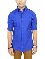 AA' Southbay Men's Royal Blue Premium Linen Cotton Long Sleeve Party Casual Shirt